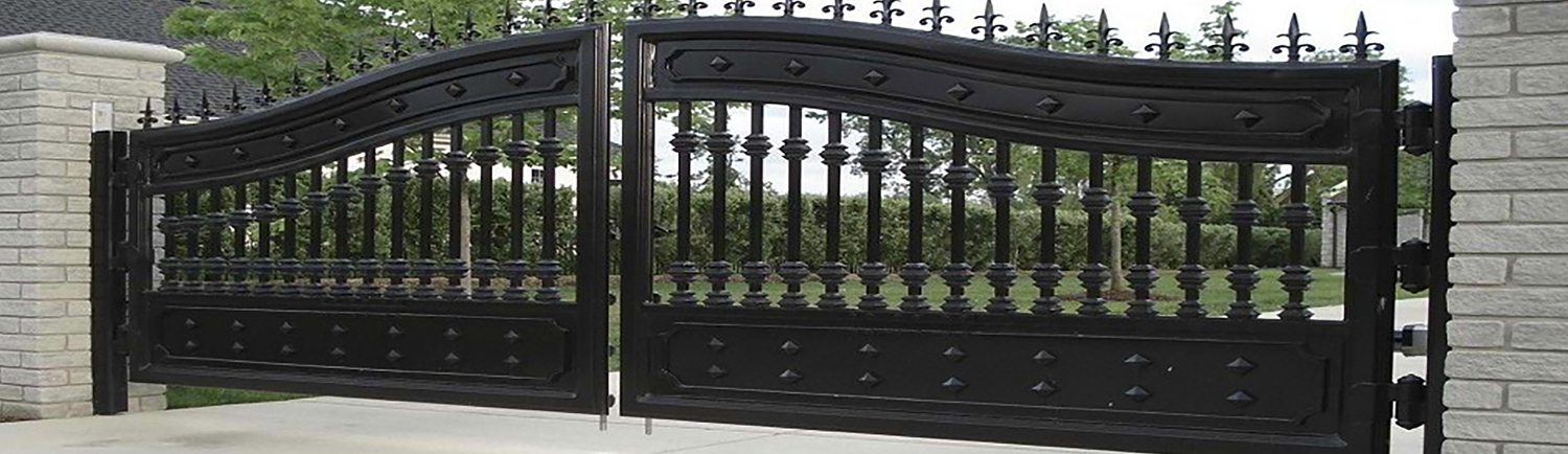 Metal gates wrought iron and entrance steel